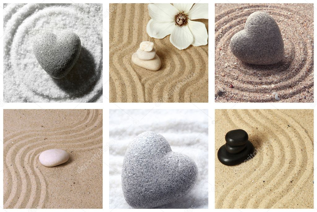 Collage de jard n zen con arena y piedras fotos de stock - Arena jardin zen ...