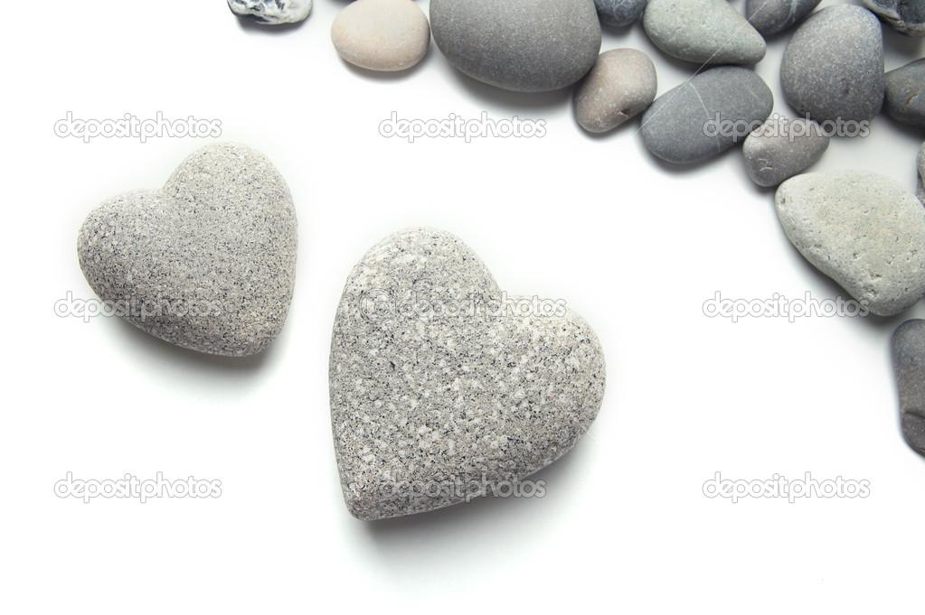 graue steine in form von herzen isoliert auf weiss. Black Bedroom Furniture Sets. Home Design Ideas