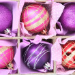 Beautiful packaged Christmas balls, close up — Stock fotografie #40277791