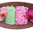 Still life with beautiful blooming orchid flowers and heap of sea salt, isolated on white — Stock Photo