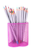 Pencils in stand isolated on white — Stock Photo
