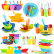Stock Photo: Bright plastic tableware isolated on white