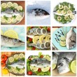 Fresh fish and fish dishes collage — Stock Photo