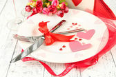 Romantic holiday table setting, close up — Photo