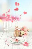 Romantic holiday table setting, close up — Zdjęcie stockowe