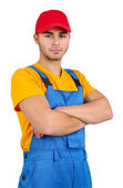 Male worker isolated on white — Stock Photo