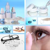 Collage of equipment for good vision, close-up — Stock Photo