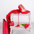 Beautiful red female accessories — Stock Photo #40334675