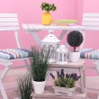 Garden chairs and table with flowers on shelves on pink background — Stock Photo #40336055