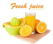 Wyciskarka do cytrusów i pomarańcze na białym tle — Zdjęcie stockowe