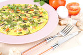 Omelet with mushrooms closeup — Stock Photo