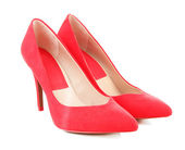 Piękne czerwone buty kobiece kobieta na białym tle — Zdjęcie stockowe