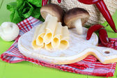 Cream cheese with vegetables and greens on wooden table close-up — Stock Photo