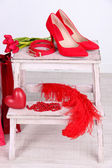 Beautiful red female accessories — Stock Photo