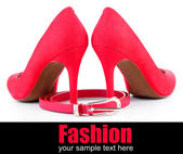 Beautiful red female shoes and belt, isolated on white — Stock Photo