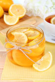 Tasty lemon jam on table close-up — Stock Photo