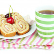 Stock fotografie: Cup of teand sweets isolated on white