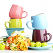 Stock Photo: clean colorful tableware isolated on white