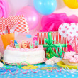 Stock fotografie: Festive table setting for birthday on celebratory decorations