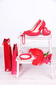 Beautiful red female accessories — Stockfoto