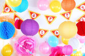 Festive decorations for birthday — Stock Photo