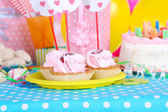Festive pastry on table for birthday close-up — Stockfoto