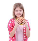 Beautiful little girl holding sandwich isolated on white — Stock Photo