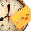 Alarm clock with sticker close up — Stock Photo #40404775