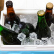 Stock fotografie: Ice chest full of drinks in bottles on color napkin, on wooden background