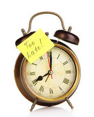Alarm clock with sticker isolated on white — Foto de Stock