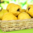 Stock Photo: Sweet quinces in wicker basket on table on bright background