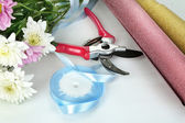 Garden secateurs and flowers isolated on white — Stock Photo
