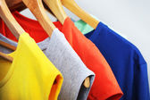 Clothes on circle hanger on light background — Стоковое фото