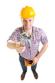 Portrait of young builder isolated on white — Stockfoto