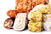 Tasty oriental sweets (Turkish delight), isolated on white — Stock Photo