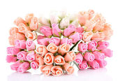 Bouquet of beautiful artificial flowers, isolated on white — Stock Photo