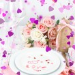Stock Photo: Romantic holiday table setting, close up