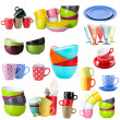 Collage of colorful dishware isolated on white — Stock Photo #40549145