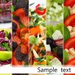 Collage of various salads — Foto Stock #40549197