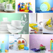 Collage of washing dishes, close-up — Stock Photo #40549423
