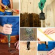 Collage of working man and carpentry tools — Stock Photo #40549531