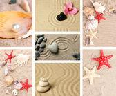Collage av zenträdgård med sand och stenar — Stockfoto