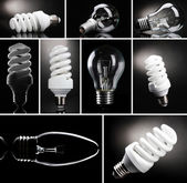 Collage of light bulbs on black background — Stock Photo
