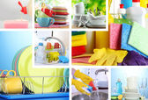 Collage of washing dishes close-up — Photo