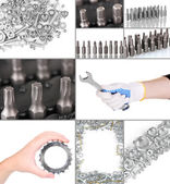 Collage of metal workshop tools — Stockfoto