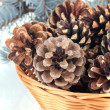 Foto Stock: Beautiful pine cones in wicker basket close-up