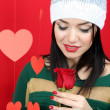 Stock Photo: Attractive young woman with heart on Valentine Day
