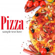 Delicious pizza, vegetables and salami isolated on whit — Stock Photo #40589953