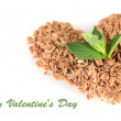 Stock Photo: Heart of chocolate crumb and mint isolated on white
