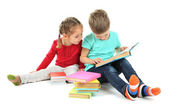 Little children with books isolated on white — Stock Photo